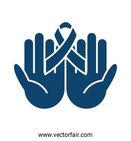 hands holding ribbon awareness support health silhouette icon