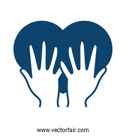 hands holding heart medical support silhouette icon
