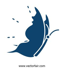 side view flying butterfly animal silhouette icon