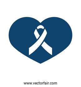 ribbon awareness healthcare sign silhouette icon