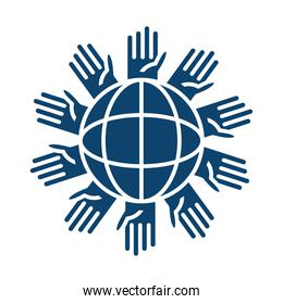 hands around planet help silhouette icon