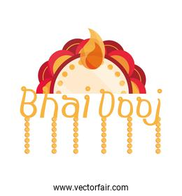 happy bhai dooj, lettering floral decoration, celebrated by hindus