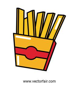 french fries fast food pop art comic style, flat icon