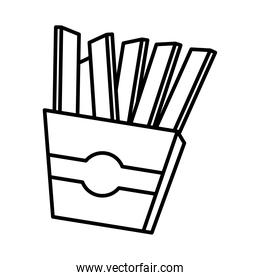 french fries fast food pop art comic style, line icon