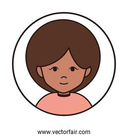 woman cartoon character portrait afro female, round line icon