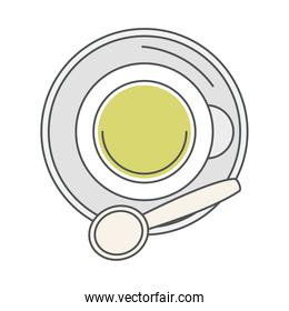 tea, top view cup with spoon on saucer line and fill