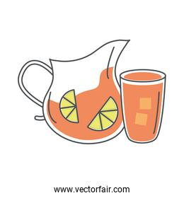 tea, glass pitcher cup with sliced lime line and fill