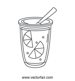 tea, refreshment cup with straw and slice lemon line icon style