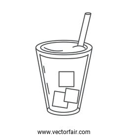 tea, herbal beverage glass cup and straw line icon style