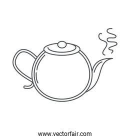 tea, hot kettle beverage traditional line icon style