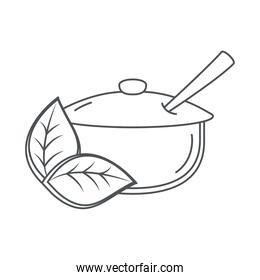 sugar bowl with spoon and leaves line icon style