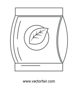 tea, takeaway in paper bag line icon style