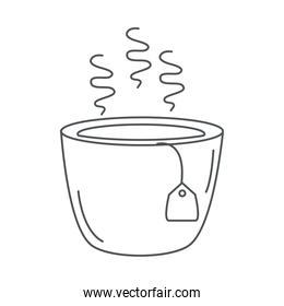 tea, teacup with teabag hot beverage antioxidant line icon style