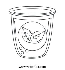 tea, fresh beverage with herbal leaf line icon style