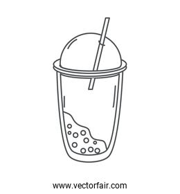 tea, cold fresh beverage takeaway cup with straw line icon style