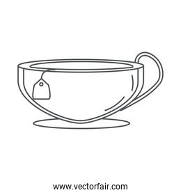 tea, porcelain cup with teabag line icon style