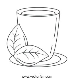 tea, cup with leaf in dish line icon style