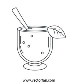 tea, glass cup with spoon and leaf line icon style