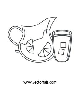 tea, glass pitcher cup with sliced lime line icon style