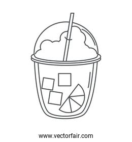 tea, takeaway smoothie with straw and slice lime line icon style