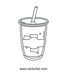 tea, disposable cup with straw beverage fresh line icon style