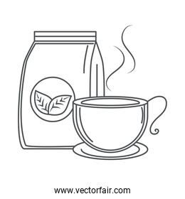 tea, teacup with pack product line icon style