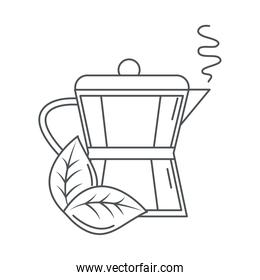 tea, teapot hot beverage with leaf line icon style