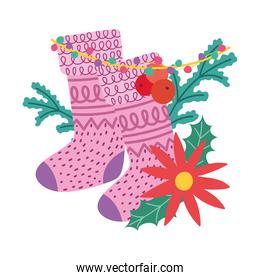 merry christmas, stocking flower lights decoration, isolated design