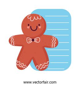 merry christmas, greeting card gingerbread man cartoon isolated design