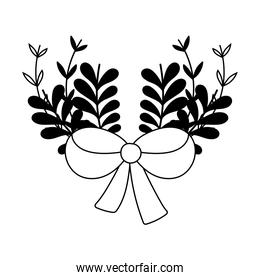 bow decoration branch leaves nature celebration isolated design
