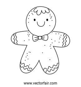 merry christmas, gingerbread man decoration, isolated design