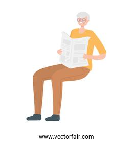 old man character reading newspaper isolated design white background