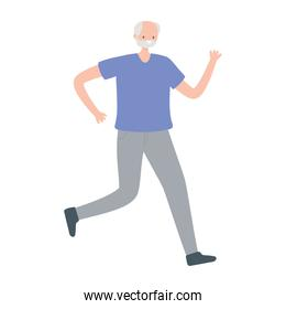 old man character running exercise activity isolated design white background