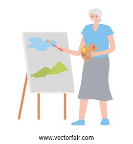 old woman with canvas and brush painting cartoon isolated design