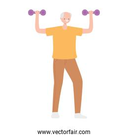 old man character lifting weight sport activity isolated design