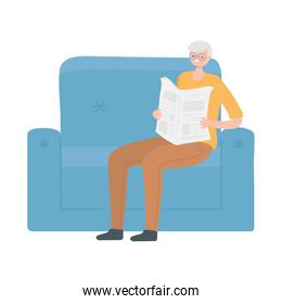 old man character reading newspaper on sofa isolated design
