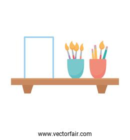 shelf with book and supplies in cups isolated design white background
