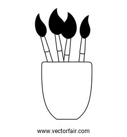 paint brushes in cup supplies isolated design white background