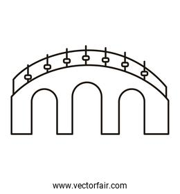 chinese wall structure line style icon