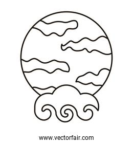 chinese cloud sky with fullmoon scene line style icon