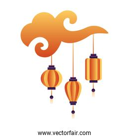 chinese paper lamps hanging in cloud icons