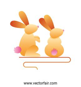 cute little rabbits seated spring animals icons