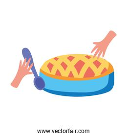 hands with delicious sweet pie isolated icon