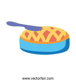 delicious sweet pie and knife isolated icon