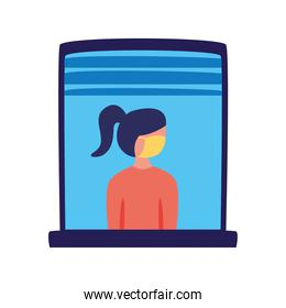 woman wearing medical mask in home window character