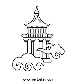 chinese cloud sky with columns tower