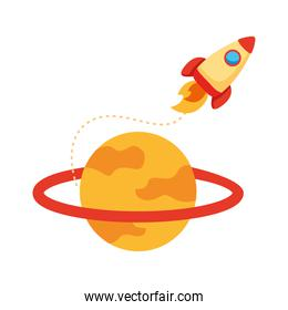 rocket launcher spaceship and saturn flat style icon