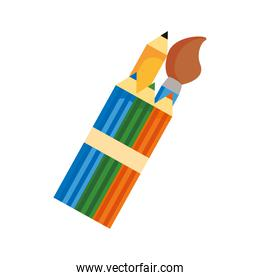 paint brush and colors pencils flat style icon