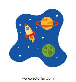 rocket launcher spaceship with universe scene flat style icon
