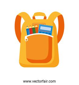 school bag with calculator and pencils colors flat style icon